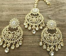 Uk Ethnic big Indian Earring Tikka Set head peice antique gold/crystal jewelry