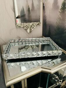 Rectangular Mirror Diamante Jewel Tray Plate Jewelled Candle Plate Tray
