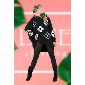 NEW Womens Luxury Designer Bold Print LAGENLOOK Hooded Sweatshirt Top