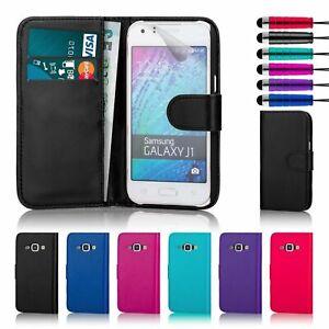 BLACK Book Wallet Case Cover Samsung Galaxy J1