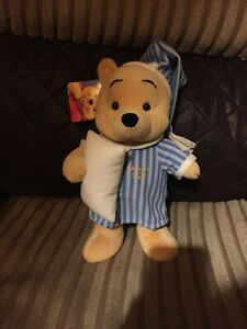 """Disney Winnie The Pooh Nightshirt Bedtime Plush Soft Toy Collectable 11"""""""