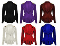 Womens Ladies Front Button Frill Spike Studd Peplum Blazer Jacket 8-24 Plus Size
