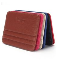 ID Holder Leather Wallet Money Poket With ID Window Credit Card Holder Slim Case