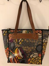 Fossil Coated Canvas Floral Tote purse Shoulder Bag with Leather Trim