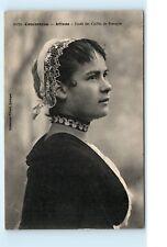 French Female Woman Girl France Bonnet Lace Choker Necklace Vintage Postcard C32