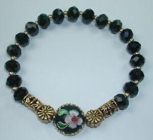 Black Crystal Stretch Bracelet Cloisonne Flower Handcrafted