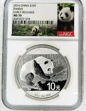 GEM SUPERB 2016 10 YN YUAN PANDA 1 OZ SILVER COIN CHINA NGC MS70 FIRST STRIKE