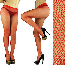 RED-Silver GLITTER FISHNET PANTYHOSE/TIGHTS/CROSSDRESSER/DRAG QUEEN/ Christmas