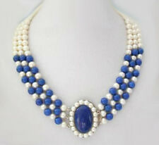 3 Rows Real White Pearl & Lapis Lazuli White Gold Plated Clasp Pendant Necklace