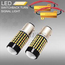 1157 Dual Color Switchback WHITE/AMBER LED Signal Light Bulbs+LED Load Resistor