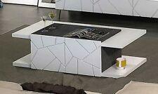 Kenia Tavolo da Salotto Tavolino Moderno Bianco e grigio marmo ante incise