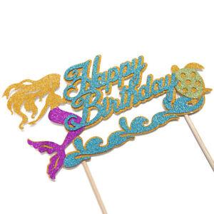 Mermaid Glitter Cake Topper Card Girls Happy Birthday Party Decorations UK