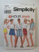 Simplicity Pattern 7201 Miss Size P 12-14-16 One Hour Shorts Vtg 1996