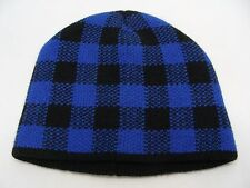 BLUE PLAID - ADULT S/M OR YOUTH SIZE - STOCKING CAP BEANIE HAT!