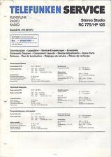 Telefunken Service Anleitung Manual RadioStereo Studio RC 775/HP 105 B485