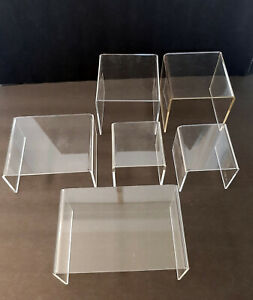 Set of 6 Clear Plastic Risers Used Different Sizes Heights Surface Areas Display