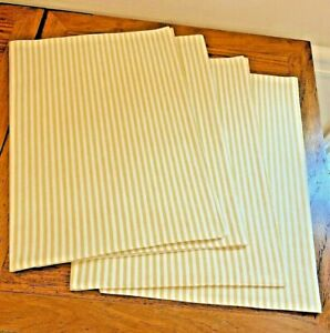 NEW Pottery Barn Wheaton Stripe Placemats S4 Sunflower Yellow Striped Placemat