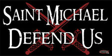 Saint Michael Defend Us Crossed Swords  - Decal -  Free shipping