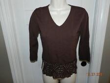 Joseph A. Qu'est-ce Que C'est Silk Womens Cardigan Sweater S Small Brown beaded