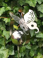 Gartenstecker Edelstahlstele Schmetterling 135cm hoch Gartendeko Edelstahldeko