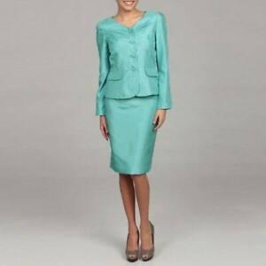 Tahari Women's Size 6 Shantung Aqua Four-button Skirt Suit Msrp $280.00