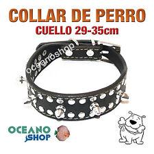 COLLAR PERRO PIEL DETALLE PINCHOS AJUSTABLE DE CALIDAD CUELLO 29-35cm L1 1851