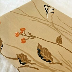 Vintage Twin Size 64x94 Flat Sheet Pequot Little Chickadee Asian Inspired Brown