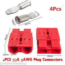 4X 50A 8AWG Plug Connect Battery Quick Connector Kit Disconnect Winch Car Truck