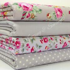 4 fat quarter fabric  bundle silver grey & pink floral mix 100 % cotton poplin