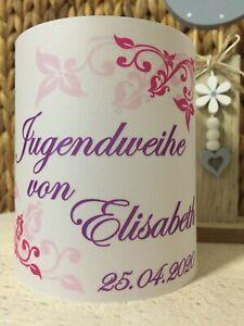 4x Tischlicht Jugendweihe Pink Lila Tischdeko Windlicht Deko mit Namen & Datum