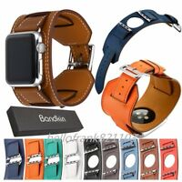 Bandkin Cuff Bracelet Genuine Leather Wristband Strap for Apple Watch Series 4 3