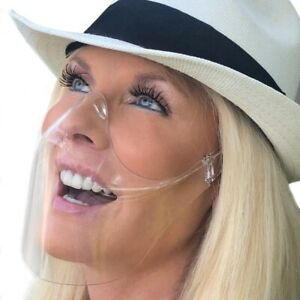 Durable Mask Face Shield Combine Plastic Reusable Transparent Face Mask Cover