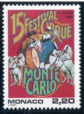 STAMP / TIMBRE DE MONACO N° 1703 ** / 15° FESTIVAL DU CIRQUE / CLOWN / CHEVAUX