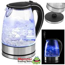 CORDLESS AUTOMATIC GLASS KETTLE 1.7L ELECTRIC CLEAR JUG BLUE LED LIGHTS