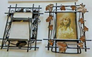 Bronze Metal Picture Frames 3.5 X 5 Inch Desk top Vertical Floral Set of 2
