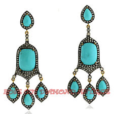 Turquoise Victorian Design Party Earrings Antique 2.80ct Rose Cut Diamond Silver