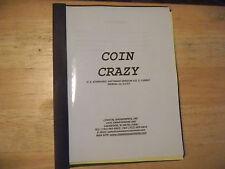 COIN CRAZY  COASTAL AMUSEMENTS    ARCADE GAME  MANUAL