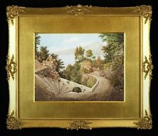 Fine Mid-19th Cent. Italian Landscape Watercolour Painting in Antique Gilt Frame
