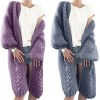 Women Chunky Winter Knitted Sweater Warm Autumn Cardigan Sleeve Jumper Long Coat
