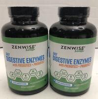 Zenwise Health Digestive Enzymes Prebiotics Probiotics 180 Lot Of 2 Exp 2/21