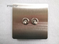 10AX 2 GANG TOGGLE SWITCH STAINLESS FINISH SCREWLESS APPEARANCE FLAT PLATE