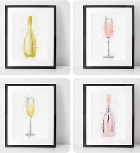 Prosecco Bottle & Glass | Room Decor | Wall Art Print | Gift Idea | A4 & A3| Set