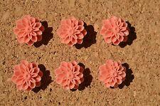Set of 6 coral Flower bulletin board pushpins, thumbtacks, or magnets