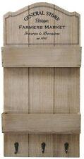 General Store Wooden 3 Coat Hook Key Rack Kitchen Garden Organiser