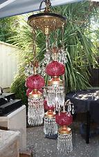 5Lite Vintage Hollywood Regency ROSES cranberry Fenton gilt Brass Tole swag lamp