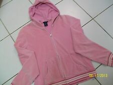 GAP /STRETCH - WOMEN /JUNIORS PINK VELOUR FULL ZIP HOODIE - SIZE MEDIUM EUC