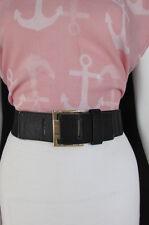 New Women Black / Brown Elastic Fashion Belt Hip Waist Gold Metal Buckle XS S M