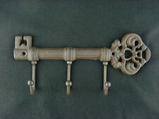 "Ornamental Iron Key Rack 3 Hooks Heavy Duty Cast Iron 9 1/4"" Wall Plaque"