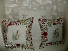 A TRIO OF CUSHIONS - 2 WITH A HARE AND  VANESSA ARBUTHNOTT - 1 CROCHET ~Fleur~