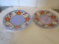 2 Antique Plates PM Porzellanfabrik Moschendorf Bavaria  Blue Luster Pansy